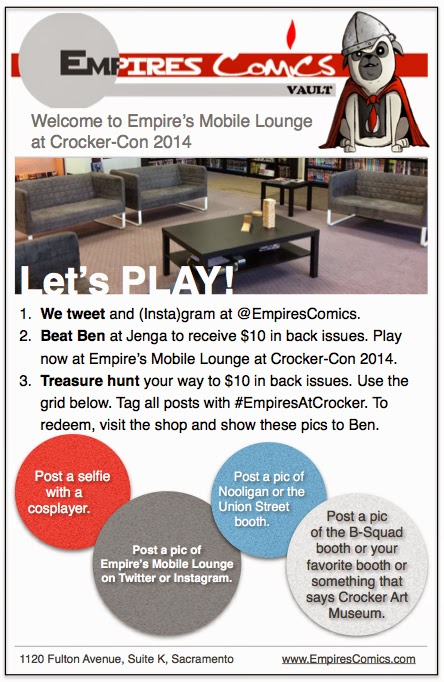 Let's Play flier showcasing fun at Crocker-Con