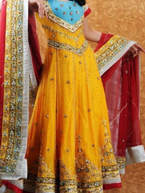 Paki Fashion 2012 Bridle Dress For Mehndi Function