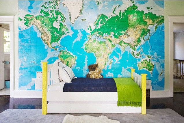 Bandanamom fantastic kids rooms part ii young kids for Kids room world map