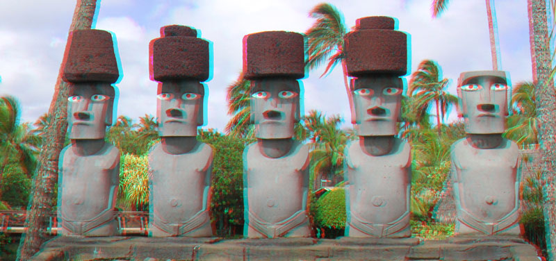 3D photo of Easter island type statues found in Hawaii