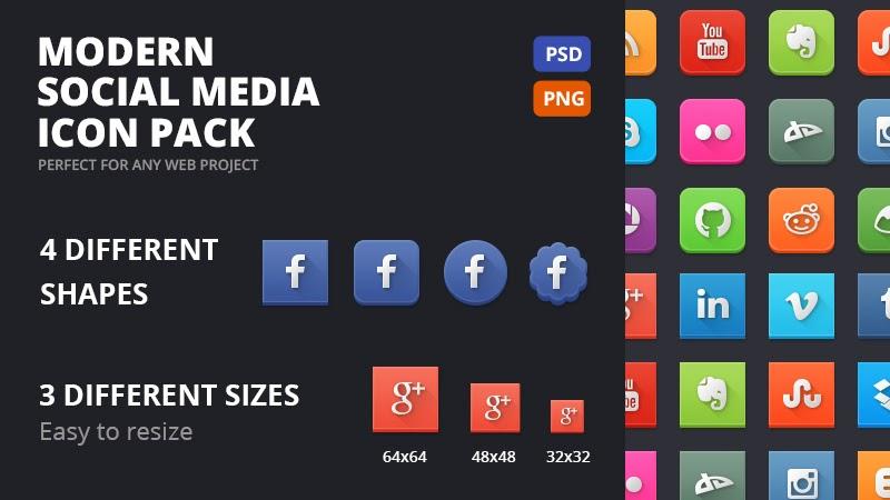 إيقونات وسائل الإعلام الإجتماعية الحديثة  في غاية الروعة مجانا
