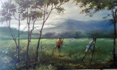 Lukisan pemandangan,lukisan anak bermain egrang,lukisan suasana desa,lukisan alam pedesaan,lukisan karya toto sukatma,lukisan pemandangan cat minyak