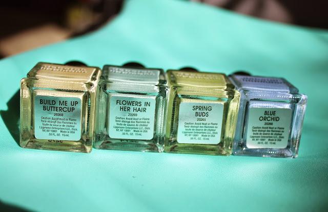 пастельные лаки для ногтей: желтый, мятный, голубой