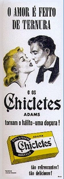 Propaganda do Chicletes Adams nos anos 50: momento romântico para vender chiclete.