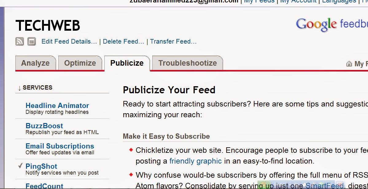feedburner publicize