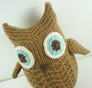 knit owl brown tan blue toy stuffed