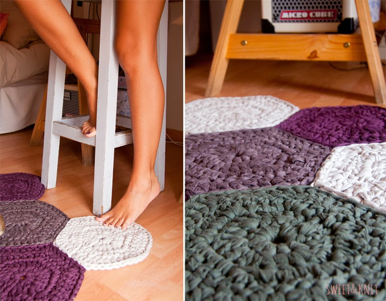 Susimiu tutorial de alfombra de ganchillo xxl de muestras hexagonal - Tutorial alfombra trapillo ...