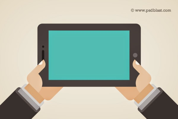 Hand Holding a Touchpad PC Tablet PSD