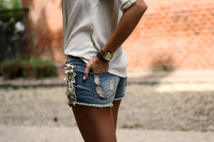 denim shorts, casual, summer