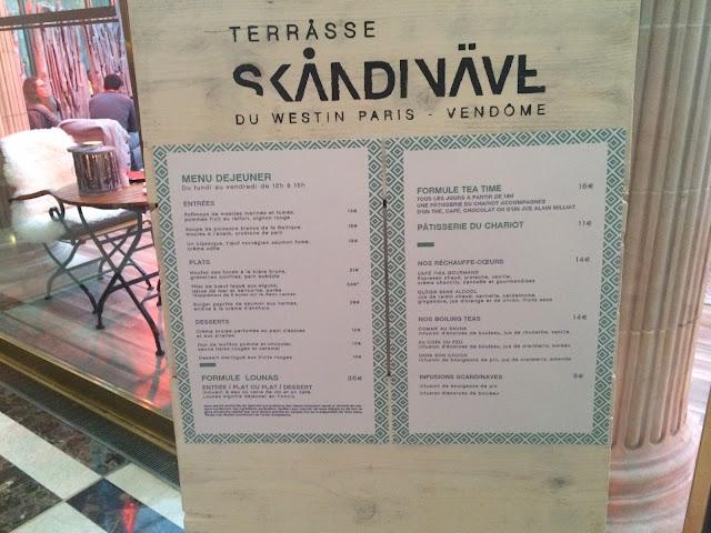 Westin Paris-Vendome, Terråsse Skåndinäve menu