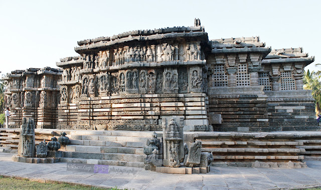 View of the temple, with raised platform and perforated pierced windows