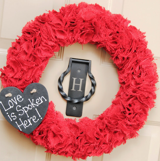 Valentine Burlap Wreath with Chalkboard Heart