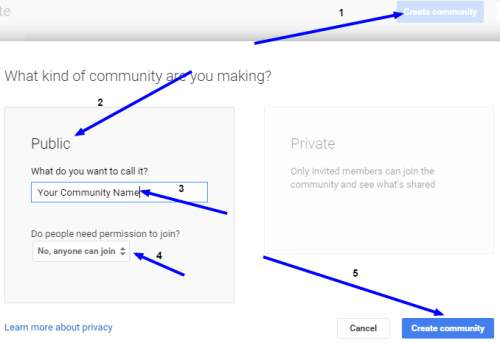 how to create google plus community