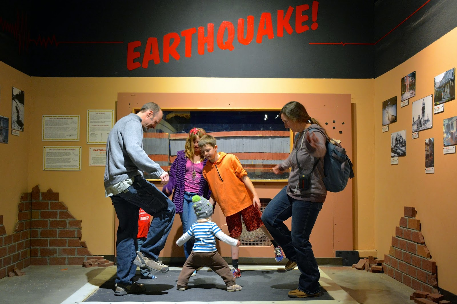 Simulated earthquake in a dinosaur museum