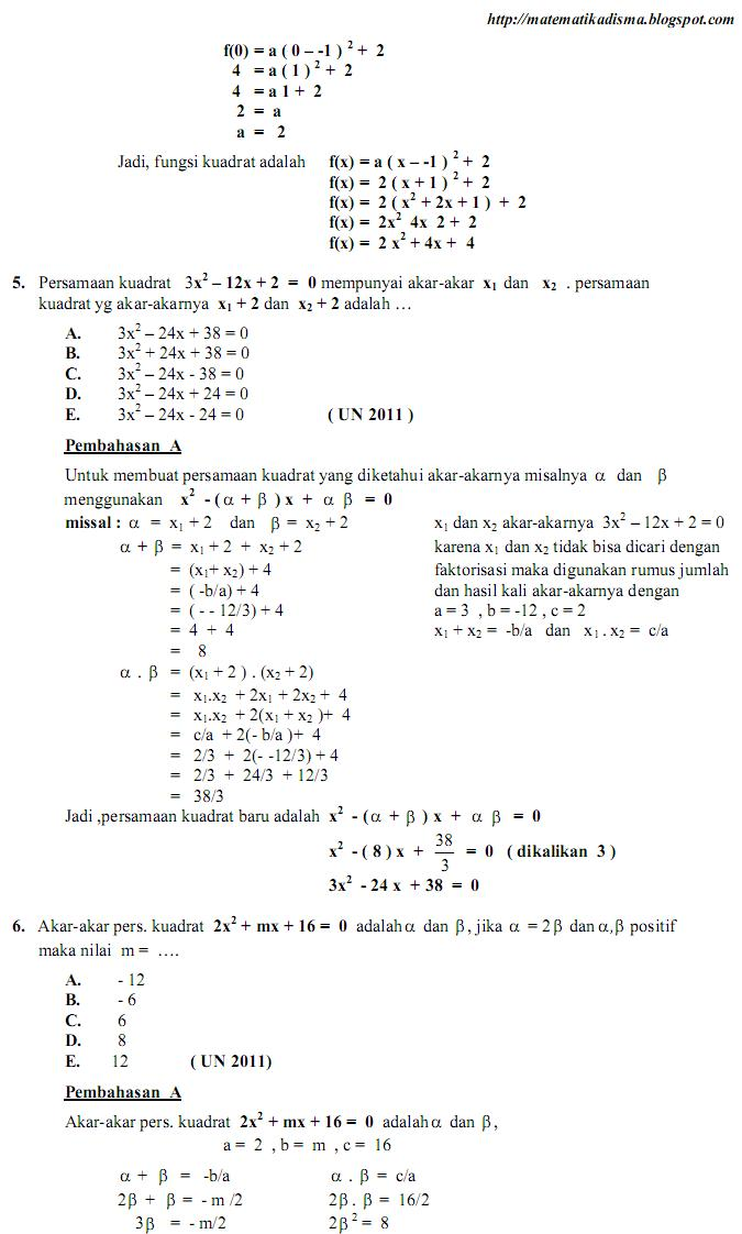 Os2kangkung Soal Dan Pembahasan Ujian Nasional Bab Fungsi Persamaan Dan Pertidaksamaan Kuadrat