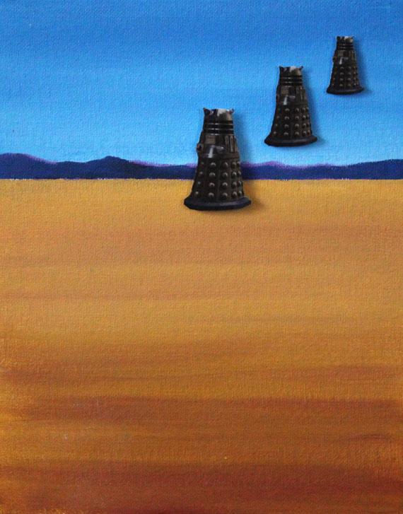 Daleks Hovering Over a Desert Painting and Raised Paper Decoupage