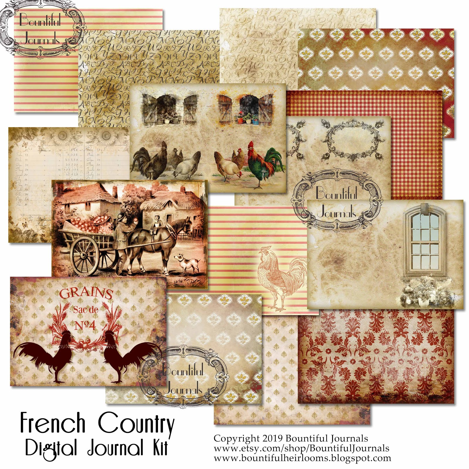 French Country Digital Journal Kit