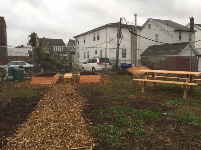 WOOD CHIP PATHS, BENCH AND RAISED BEDS...