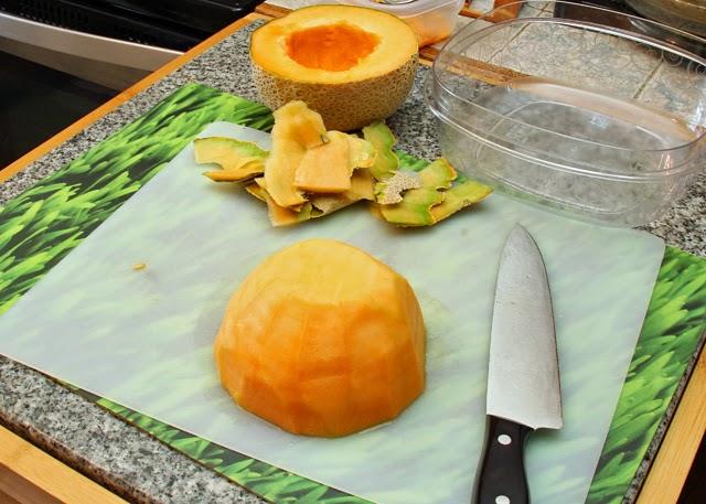 Peeled cantaloupe.