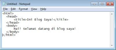 Membuat rancangan HTML dengan Notepad