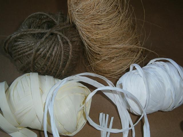 cuerda de rafia, cordel de pastelero y cordón de esparto para envolver regalos