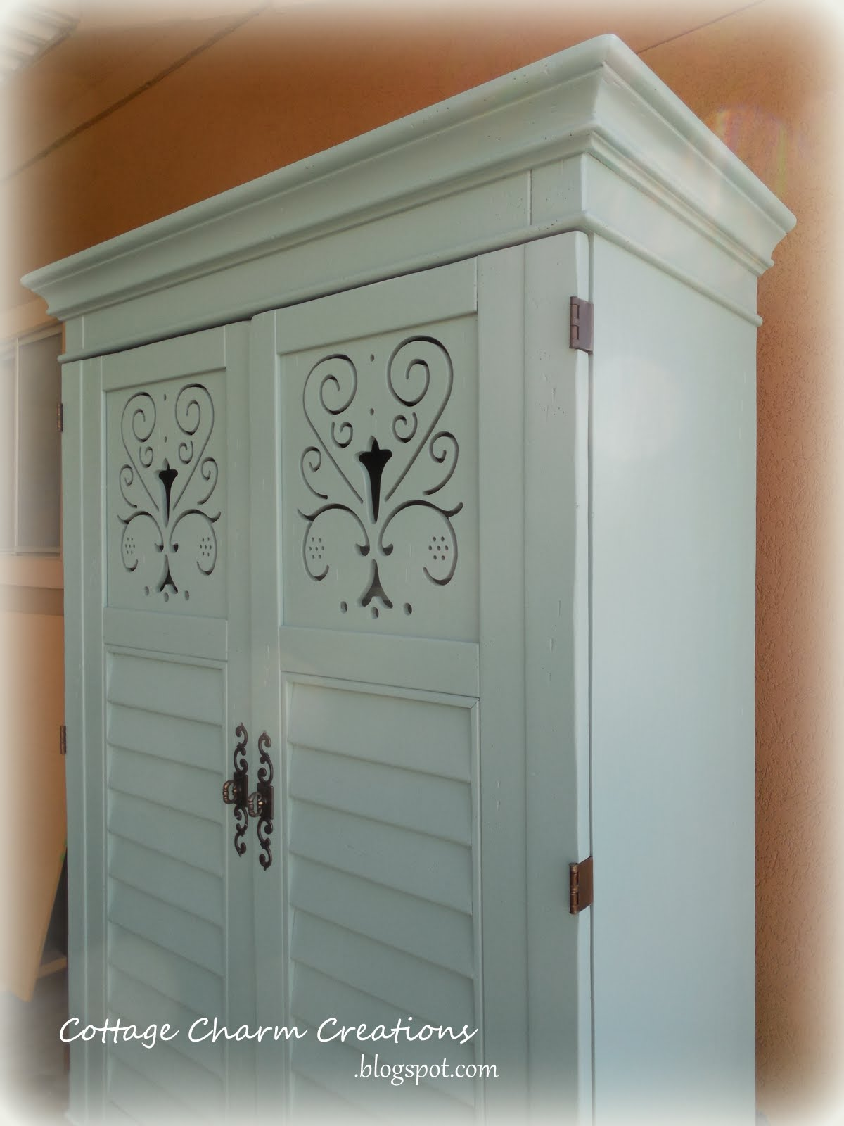 cottage charm creations before after armoire. Black Bedroom Furniture Sets. Home Design Ideas