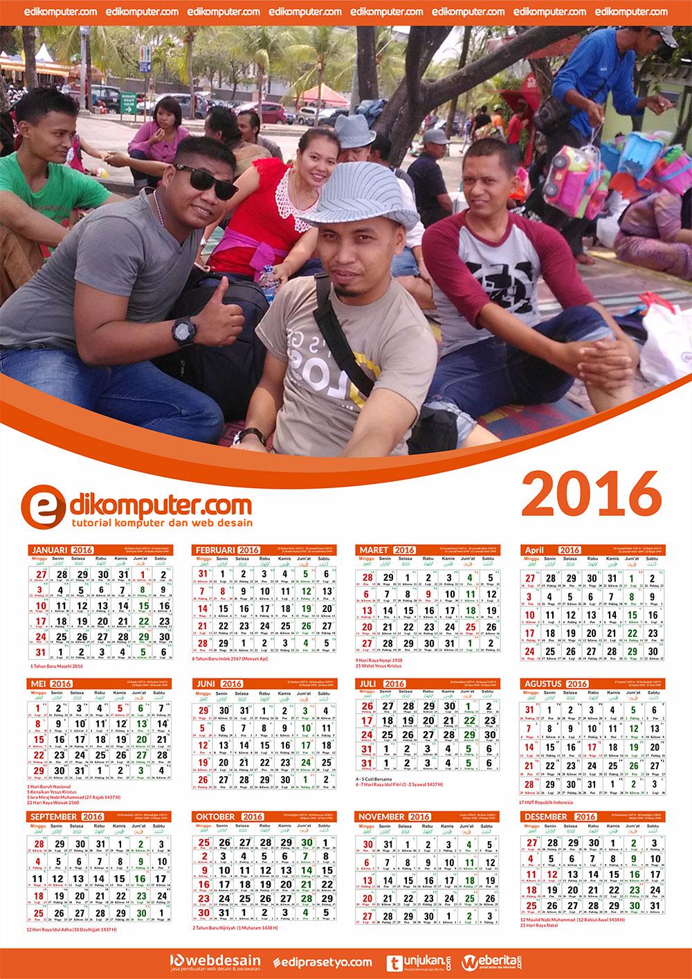 Download Desain Kalender Terbaru 2016 Ukuran A3