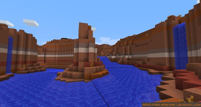 En esta imagen se ve claramente el flujo de un río con el Mod Streams 1.7.10