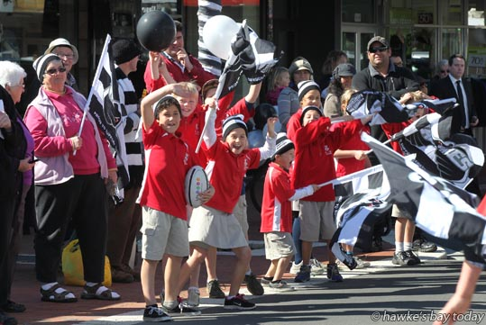 Parade in Hastings for the Hawke's Bay Magpies rugby team, winners of the Ranfurly Shield, after beating Otago 20-19 in Dunedin on Sunday photograph