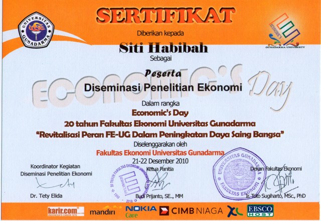 sertifikat fakultas ekonomi gunadarma sertifikat paud kubaca peduli ...
