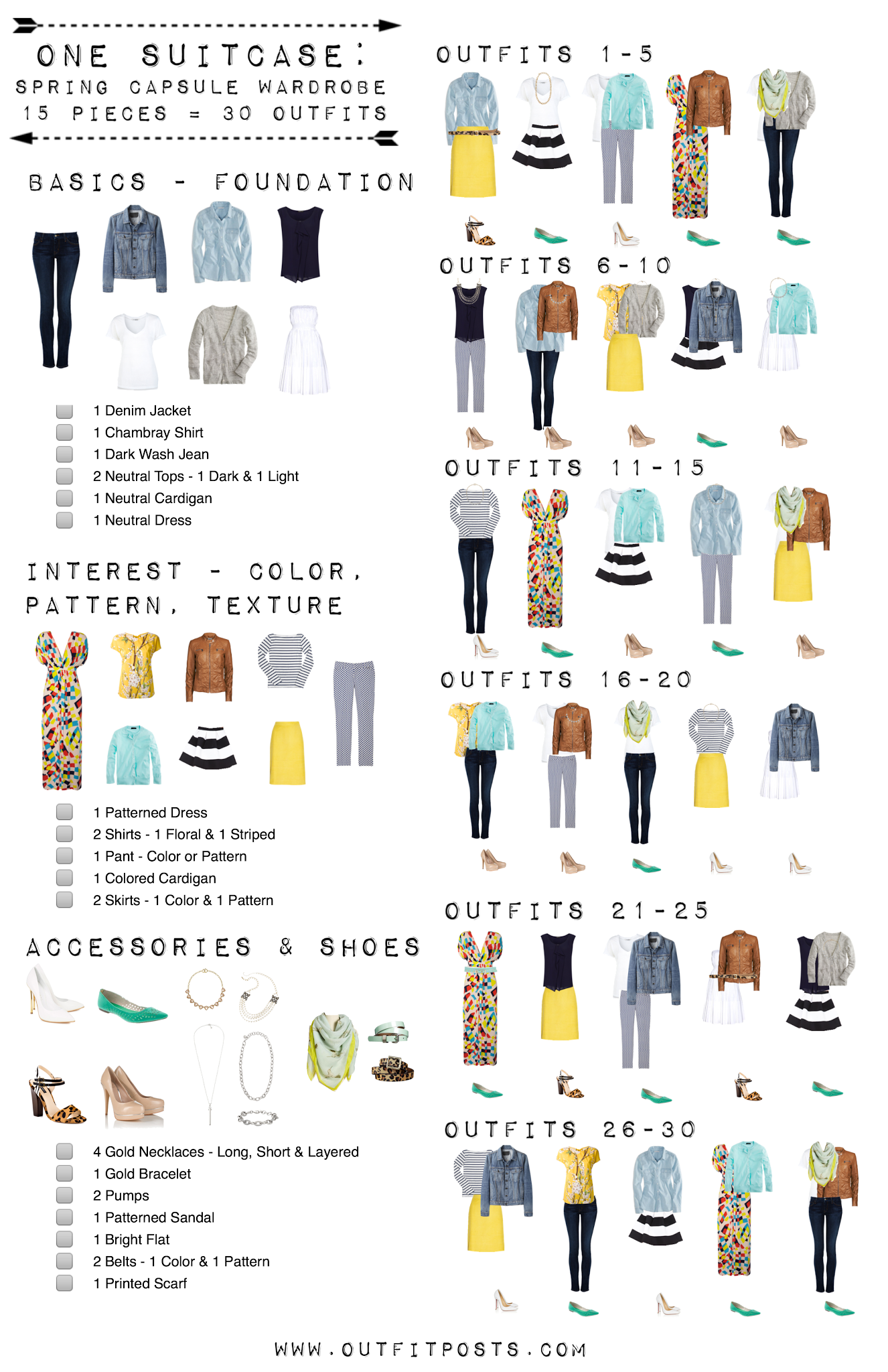 15 easy pieces for 30 summer outfits capsule wardrobe checklist