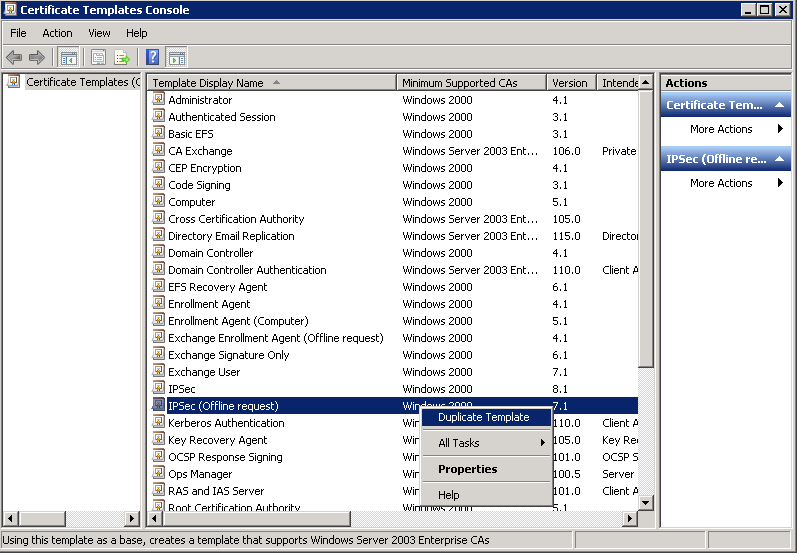 Kevin greene it blog using internal certificates with scom on select either windows server 2003 or windows server 2008 as the minimum supported ca type from the window that opens below yelopaper Image collections