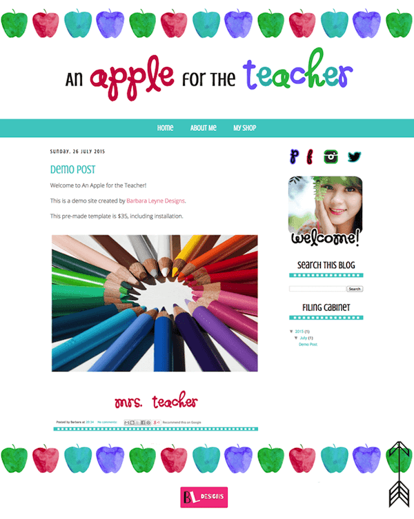 Premade Blogger Design by Barbara Leyne Apple themed in aqua red purple green
