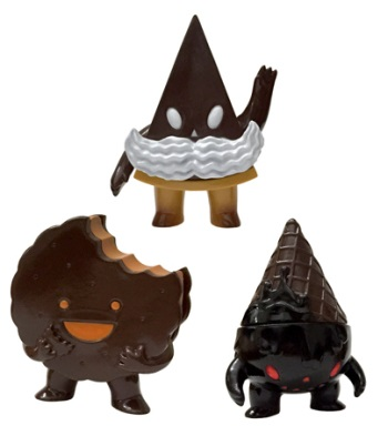 "Designer Con 2015 Exclusive ""Choco"" Kandy Kaiju Vinyl Figures by Super7 - Foster, Milton & Pie Guy"