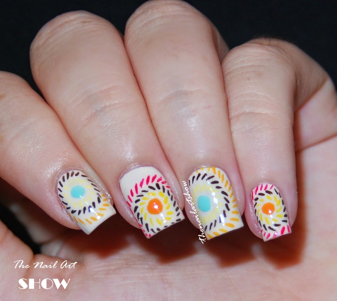 The nail art show lines and dots this is a really simple design with very vibrant colors which anyone can do you dont need much just some colors a thin brush and plus you dont have to prinsesfo Choice Image