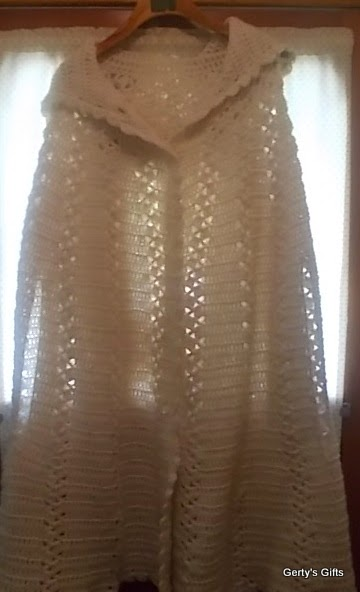 Long hooded Crochet Shawl
