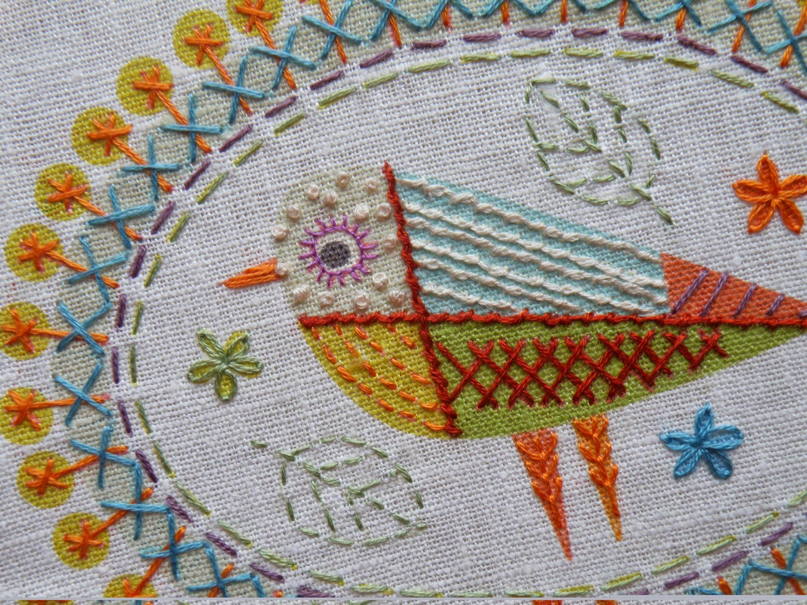 Birdie 2 Embroidery Kit Detail