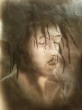 Peinture bob Marley sur papier Aérographe par bysoairdisign