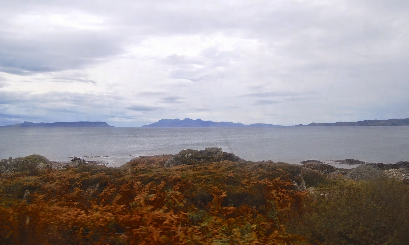 Distant view of Eigg and Rum