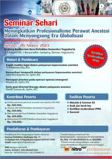 Seminar Sehari Meningkatkan profesionalisme Perawat Anestesi Dalam Menyongsong Era Globalisasi