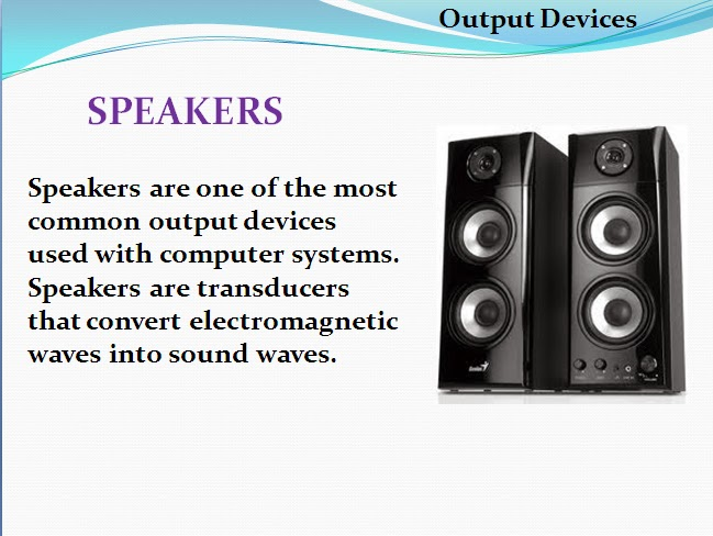 the most common output devices are