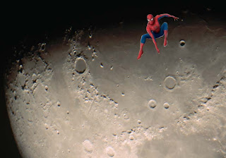 Spiderman Posters Wallpapers Spider Walking on Moon Surface background