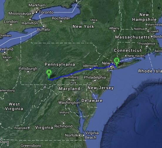 Pennsylvania to New York