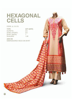 Orange Checks Beinge and Hexagonal Cells Lawn Suits