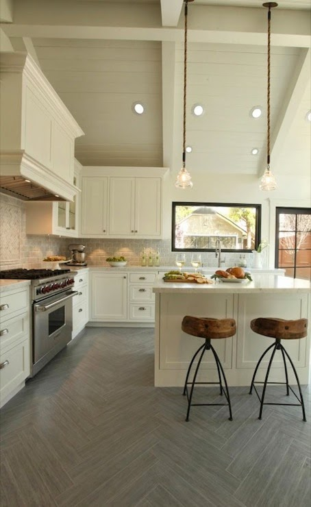 herringbone floors in kitchen