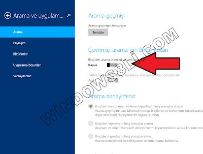 Bing Arama Kapatma