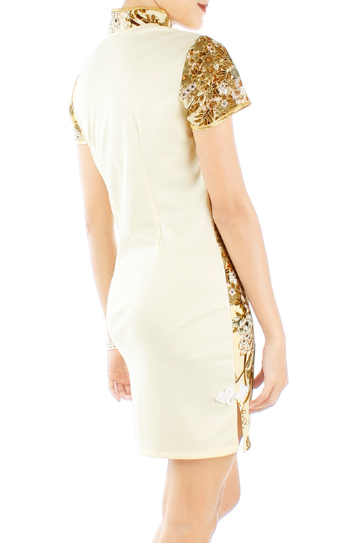LUXE Oriental Spring Cheongsam with Sleeves in Cream