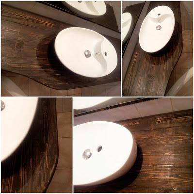 jak wygładzic krawędzie blatu,DIY drewniany blat do łazienki,inspiracje drewniane blaty łazienka ,blog wnętrza DIY