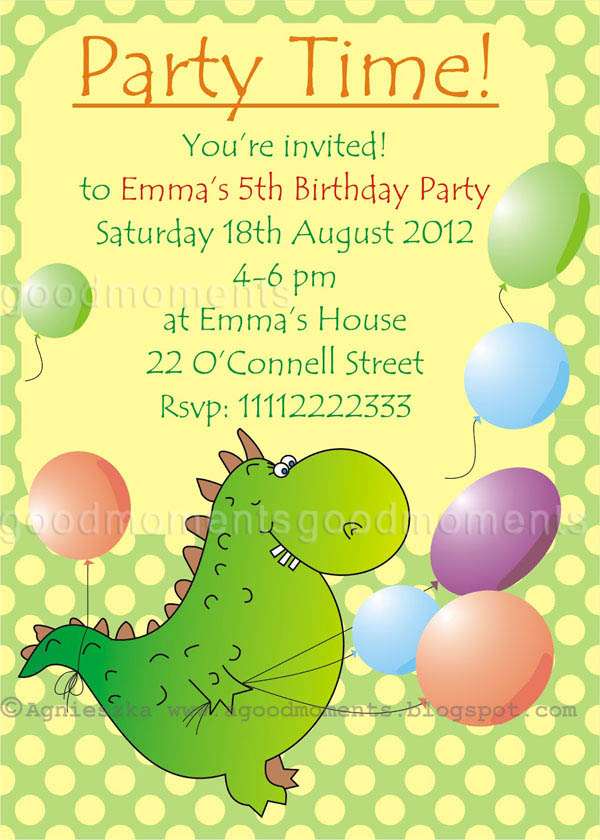 good moments Kids Birthday Party Invitations Dzieci ce – Toddler Birthday Invitation