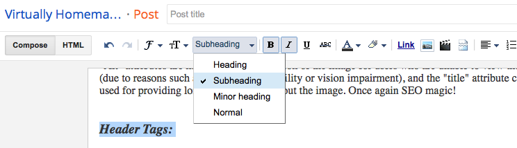 Using subheadings in your blogger post.